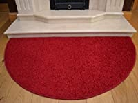 Red Half Moon Rug. Size 70cm x 137cm by Rugs Supermarket