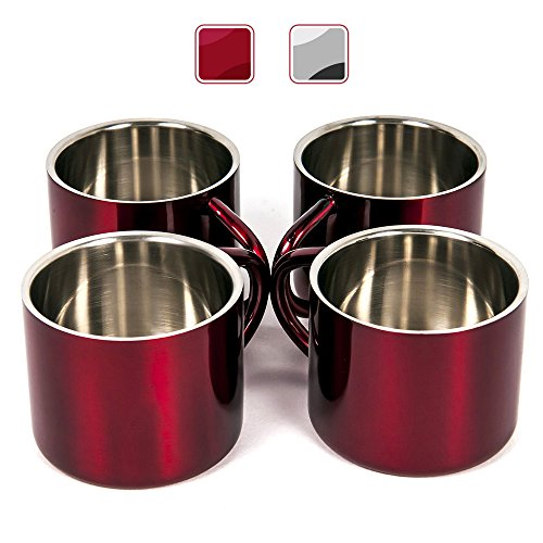 F&L Stainless Steel Double Wall Espresso Cups, 2-Ounce, Red, Set of 4 (Red Espresso Set compare prices)