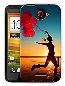 """Humor Gang Free Woman With Balloons On A Beach Printed Designer Mobile Back Cover For """"HTC ONE X"""" (3D, Matte, Premium Quality Snap On Case)"""