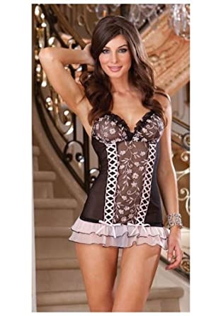 Dreamgirl Girls Welcome To Paradise Underwire Chemise,Black/Pink,Large