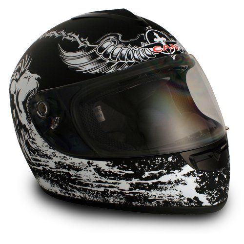 VCAN V136 Crusader Black Medium Graphic Full Face Helmet