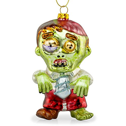 'Zac' The Zombie Glass Christmas Tree Bauble Decoration