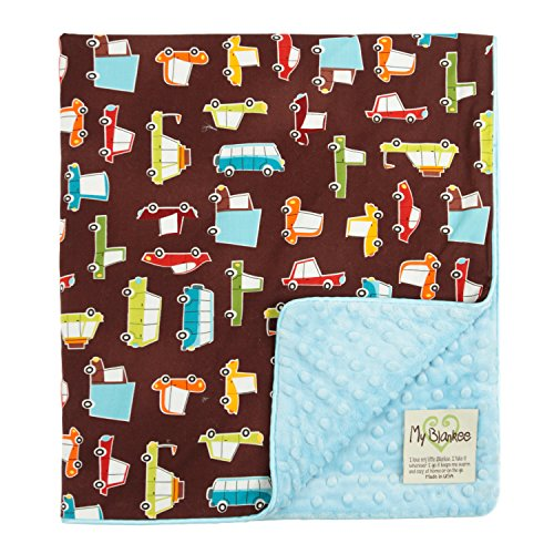"My Blankee Road Trip Organic Cotton Brown w/ Minky Dot Blue Baby Blanket, 30"" X 35"""
