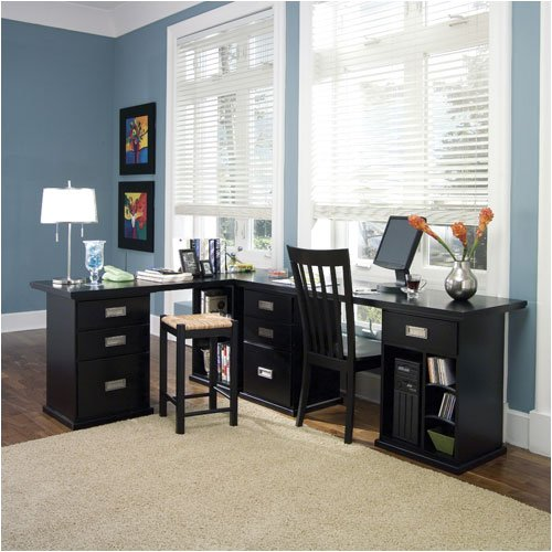 Riverside Furniture Basics Office Series Basics L - Shaped Office Set in Equinox Black