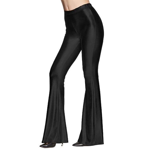 70s Women Shiny Flare Leggings Bell Bottom Pants Wet Look Long Trousers Clubwear
