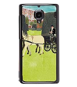 Fuson Premium 2D Back Case Cover Man riding cart With Brown Background Degined For Xiaomi Redmi 1S::Xiaomi Redmi (1st Gen)