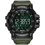 SMAEL Digital LED Display ,Bluetooth Smart with Android and IOS,Waterproof and Electric Alarm,with Running Timer, Multifunctional Sports Watch (Army-Green) (Color: Army-Green, Tamaño: 17mm)