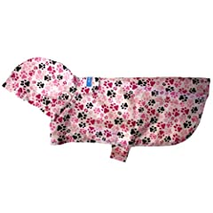 RC Pet Products Packable Dog Rain Poncho, Pitter Patter Pink, Small