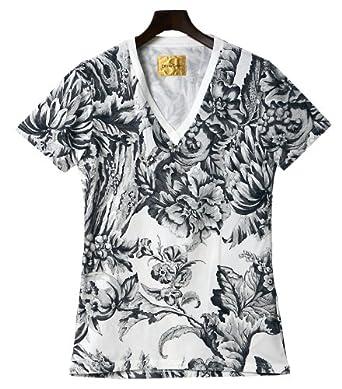 (ドレスキャンプ)DRESS CAMP フラワー総柄 VネックTシャツ