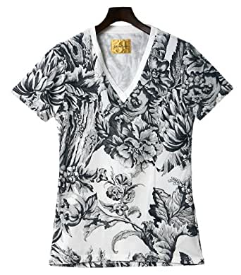(ドレスキャンプ)DRESS CAMP フラワー総柄 VネックTシャツ Lサイズ