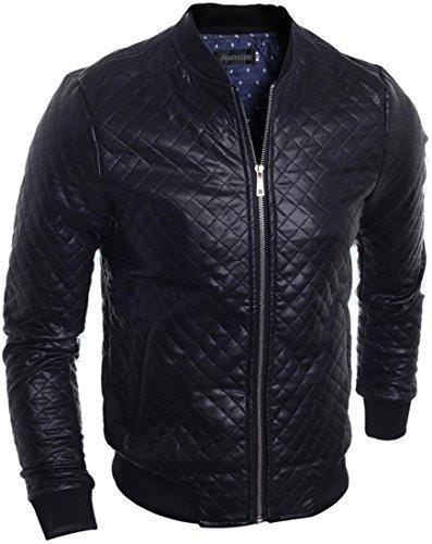 jeansian Nero Cool Uomo Losanga PU Pelle Cerniera Biker Giacca Cappotto Capispalla Jacket 9546 Black XS