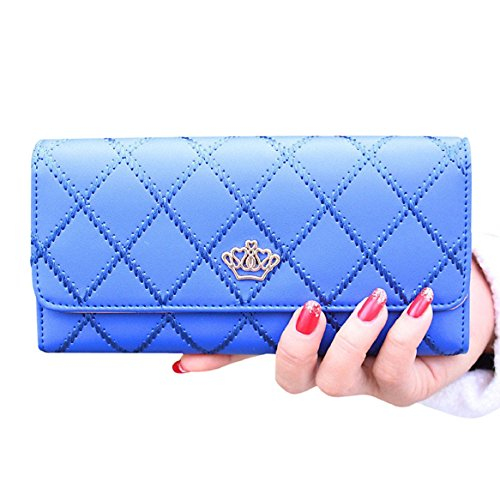 Chianrliu® Damen PU Leder Geldbörse Damen Portemonnaie Damen Geldbeutel - Lang versch. Farben (Blau)