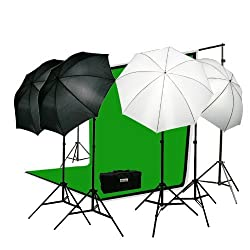 ePhoto Premium Portrait Photography Studio Video Lighting Kit with 3 Chromakey Black White Green Muslin Supporting Background Stand System Case by ePhotoInc H4045