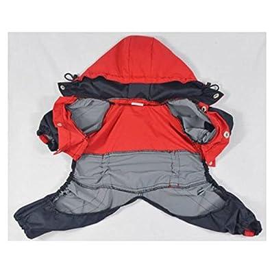 Molie Waterproof Red Pet Clothing Heavy Duty Dog Raincoat Hoodies Coat