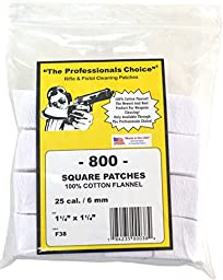 The Professional\'s Choice Pistol/Rifle Cotton Flannel 1 1/4-Inch Square Gun Cleaning Patches (800-Pack), .25-Calibre/6mm