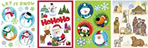 Impact Innovations Christmas Vinyl Static Cling Window Decorations, Holiday Magic, 4-Pack Assortment by Impact Innovations