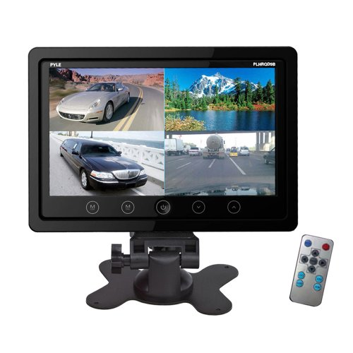 Pyle PLHRQD9B 9-Inch Quad TFT/LCD Video Monitor with Headrest Shroud BNC and RCA Connectors, Black
