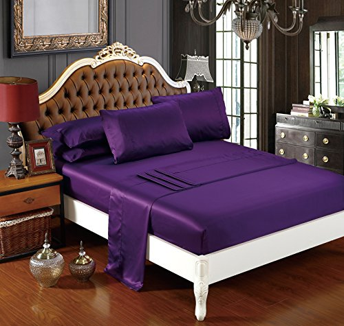 DelbouTree Silky Soft Solid Matte-Satin Bed Sheet Sets Shiny-Free,Deep Pocket Queen 4 Pieces, Plum (Purple Satin Sheets compare prices)