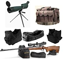"""Ultimate Arms Gear 25-75x75 Green Rubber Armored Sniper Spotter Hunting Spotting Scope + 9"""" Tripod + Sunshade + Lens Kit + Pro Series QD Front & Rear 3 Piece Shooting Rifle Shotgun & Muzzle Loader Steady Shooter Support Bag Range Set + Stealth Black Heavy Duty Equipment Hunting Law Enforcement Range Bag Gear with Magazine Ammo Pouches"""