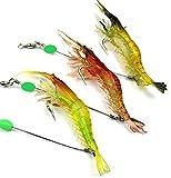エビ 疑似餌 ルアー フィッシング 釣り 仕掛け 夜間 発光タイプ イカ タコ マダイ 3色 6個 セット