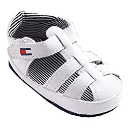 Mjun® Baby Boys Girl\'s Pu Leather Sandal Soft Sole Summer Prewalker Sandals Sneakers (6-12 months, white )