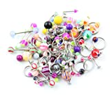 Lot of 90 Mixed Assorted Ball Tongue Eyebrow Labret Navel Belly Nipple Ring Bar Barbell Stud Button Wholesale
