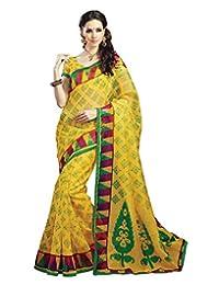IndiWeaves Women Super Net Printed Yellow Saree - B00VPXCRE8