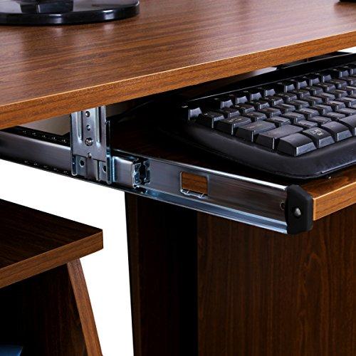 Songmics Scrivania per computer Scrivania ufficio porta PC Tavolo per Computer Con Ripiani Tastiera Scorrevole Noce LCD851H