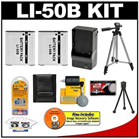 Deluxe Starter Kit for Olympus SZ-10 Super Zoom 14MP Digital Camera and Olympus LI-50B SDHC Card USB Reader Two Halcyon 1500 mAH Lithium Ion Replacement LI-50B Battery and Charger Kit Memory Card Wallet