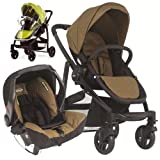 Graco Evo 2in1 Travel System - Khaki Complete With SnugSafe Carseat, Footmuff And Raincover