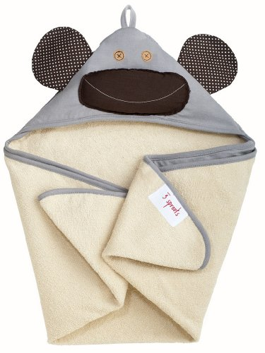 3 Sprouts Hooded Towel, Monkey, Grey