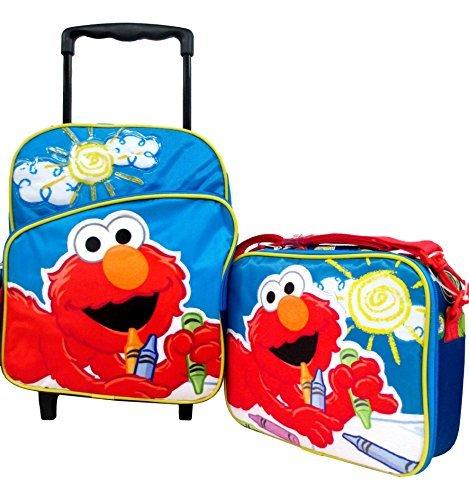 "Elmo Sesame Street Toddler Boys Medium 12"" Rolling Backpack Roller Book Bag & Lunch Box Set - 1"