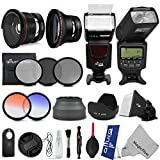 58MM Altura Photo Complete Accessory Kit for CANON EOS Rebel T5i T4i T3i T2i T1i T5 T3 DSLR Cameras - Includes: TTL Dedicated Flash + Universal Flash + 0.35x Fisheye Lens w Macro + 0.43x Wide Angle Lens w Macro + Filter Kit (UV - CPL - ND4) + 2 Graduated Color Filters + Collapsible Hood + Tulip Hood + Flash Diffuser + Remote Control + Center Pinch Lens Cap + Deluxe Cleaning Kit + MagicFiber Microfiber Cleaning Cloth