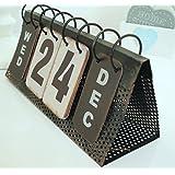 SIL Chic Perpetual Flip Calendar Shabby Vintage Style Distressed Large Metal Flip Perpetual Calendar (Color: White, Tamaño: H11cm (4.25