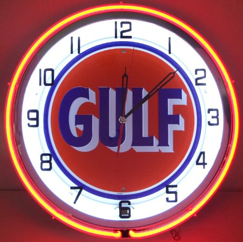 "Gulf 18"" Neon Lighted Wall Clock Gasoline Gas Fuel Pump Oil Tanker Sign Orange Old Style"