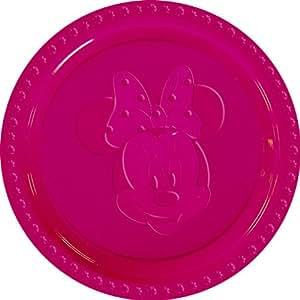 Disney Minnie Plastic Plates Embossed Large, Fuchsia
