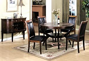 roundhill furniture 5 piece solid wood round top dining set includes table with 4. Black Bedroom Furniture Sets. Home Design Ideas