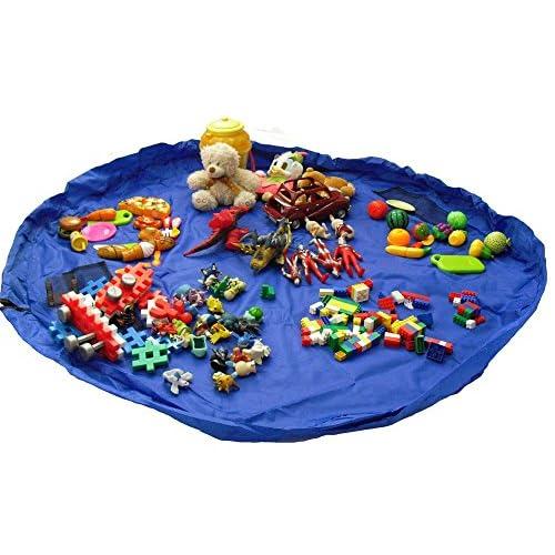RISACCA 大容量 おもちゃ 収納 袋 + 小分け袋 簡単ラクラク おかたづけ 特大 150cm マット 便利 グッズ 男の子 女の子 (ブルー)