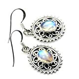 Antique Style Sterling Silver Moonstone Dangle Earrings