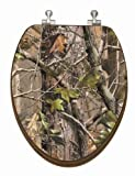 TOPSEAT 13DBMNICAM 3D Toilet Seat, Realtree  Camouflage, Elongated, Nickel Metal Hinges, Bamboo