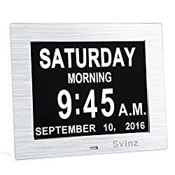 Upgraded - Svinz Memory Loss Day Clock Digital Calendar - Extra Large Non-Abbreviated Day & Month - Excellent for Impaired Vision SDC006 - Brushed Silver