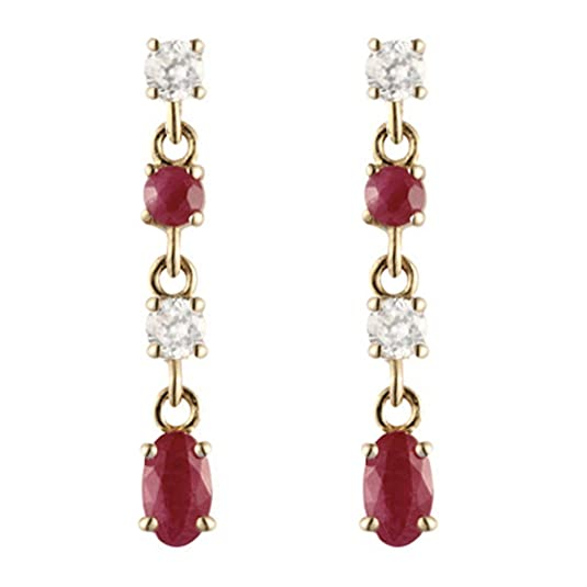 9ct yellow gold ruby & white cubic zirconia drop earring