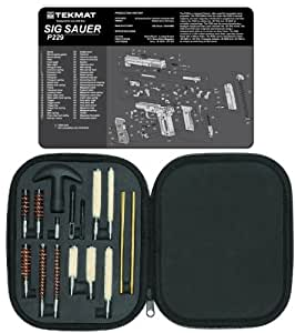 Ultimate Arms Gear Gunsmith & Armorer's Cleaning Work Bench Gun Mat SIG Sauer SIG P229 + Professional Tactical Cleaning Tube Chamber Barrel Care Supplies Kit Deluxe 17 pc Handgun Pistol Cleaning Kit in Compact Molded Field Carry Case for .22 / .357 / .38 / 9mm / .44 / .45 Caliber Brushes, Swab, Slotted Tips and Patches