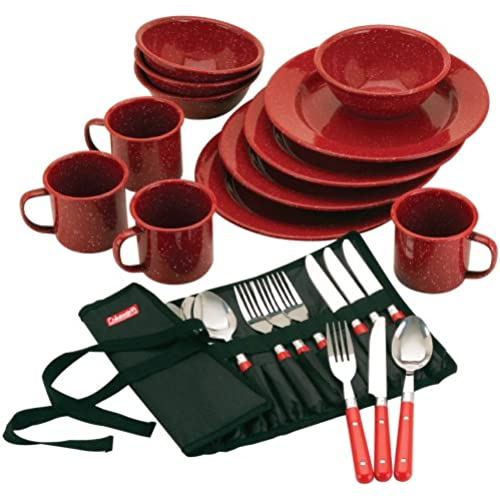 Coleman Speckled Enamelware 테이블 웨어 세트 Dining Kit (Red)-2000016407