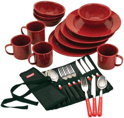 Coleman Speckled Enamelware Dining Kit (Red)