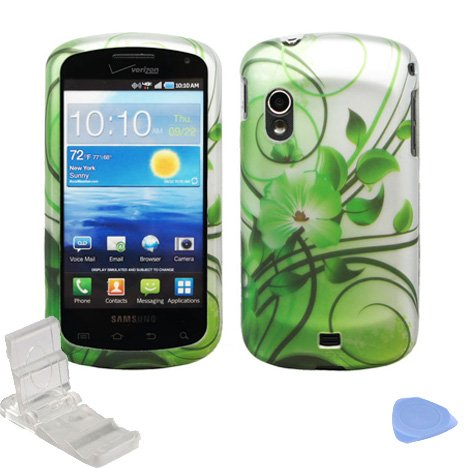 Silver Green Flower Vine Design Rubberized Snap on Hard Shell Cover Protector Faceplate Skin Case for Verizon Samsung Stratosphere i405 + LCD Screen Guard Film + Mini Phone Stand + Case Opener
