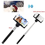 Getwow(TM) Extendable Self-portrait Wireless Bluetooth Remote Camera Shooting Shutter Monopod Selfie Handheld Stick Pole with Mount Holder and Super Clear Rear-camera Self-timer, specially designed for Apple iPhone 6 Plus 6 5s 5c 5 4s Samsung Galaxy Alpha S5 S5 Active S4 S4 Mini S3 S3 Mini Samsung Galaxy Note Edge 4 3 2 (Black)