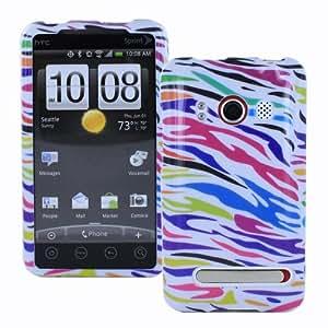 Fosmon Crystal Design Case for Sprint HTC Evo 4G - Colorful Zebra