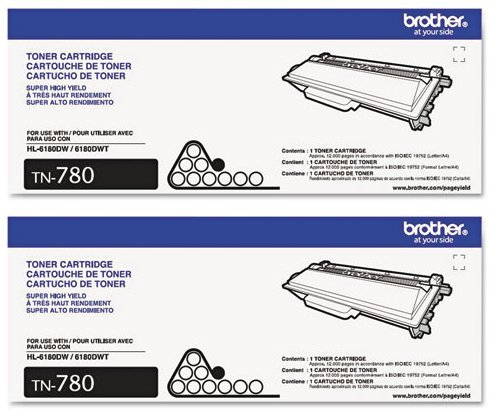 Genuine Brother TN-780 (TN780) Super High Yield Black Toner Cartridge 2-Pack (Brother Tn 780 compare prices)