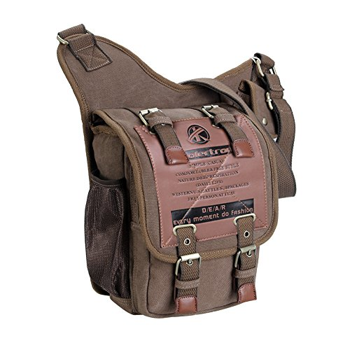 Koolertron Vintage Mens Canvas Backpack Bicycle Bag Womens Shoulder Sling Chest Military Leather Patchwork Ipad Bag Messenger Bag(Khaki) (Vintage Bike Accessories compare prices)